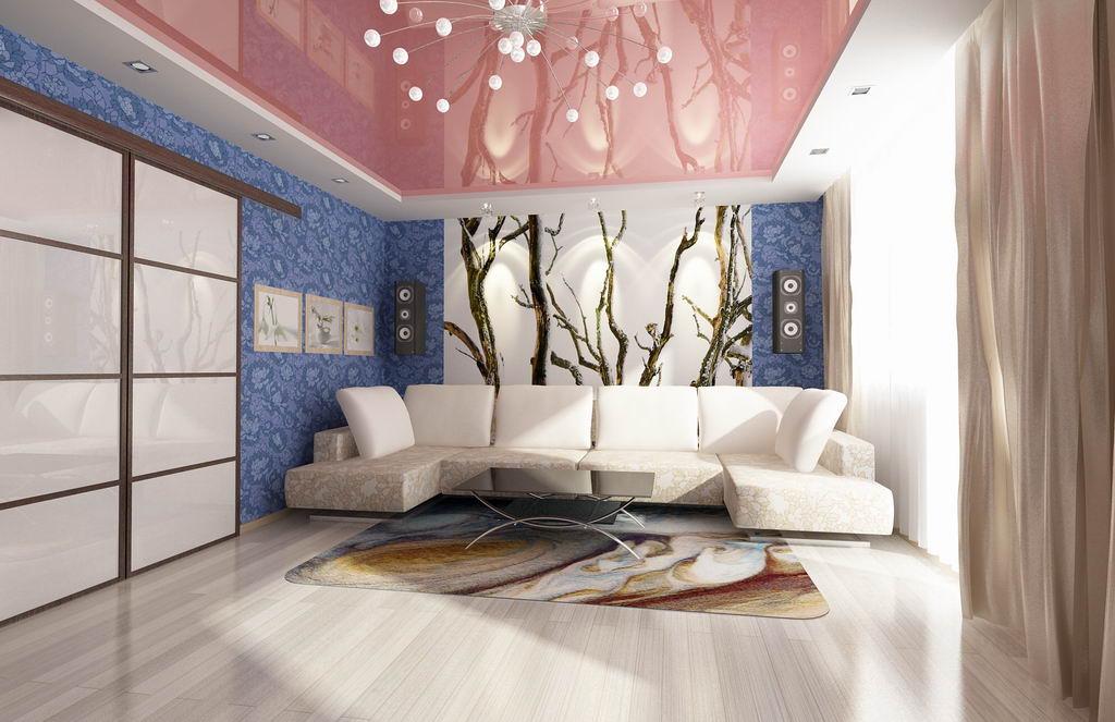Дизайн зала с натяжными